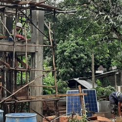 Drilled well, solar pumping system and elevated tank